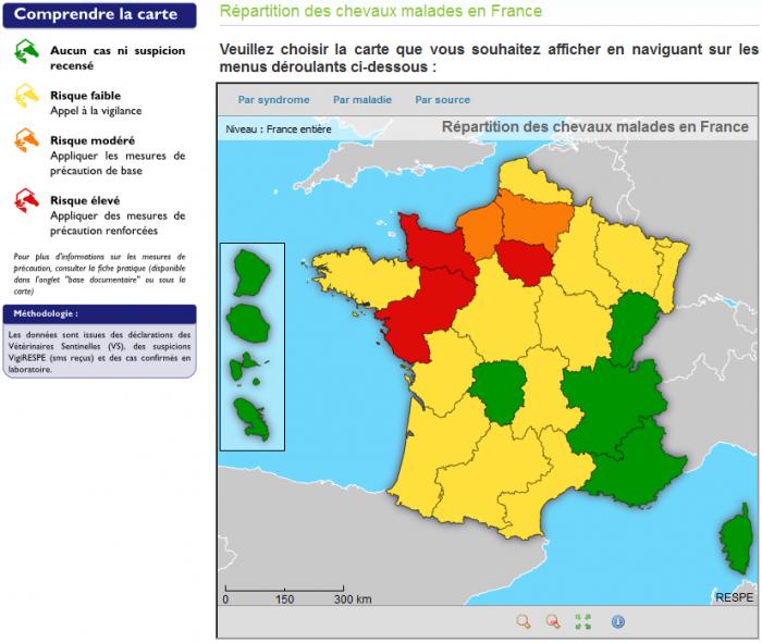 cartographie des chevaux malades en france - RESPE
