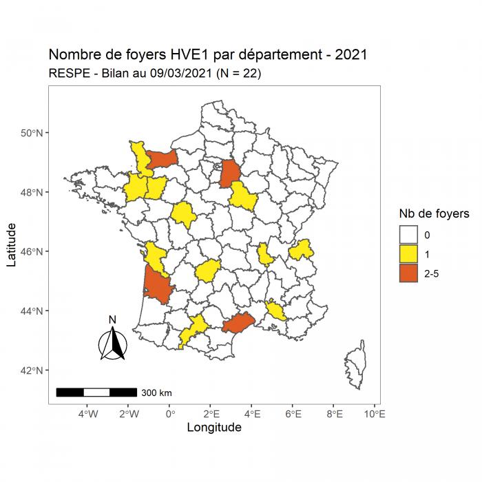 La cellule de crise du RESPE s'est réunie pour la seconde fois le 08 mars dans le cadre des foyers d'herpèsvirose de type 1 (HVE1 – rhinopneumonie) confirmés en Espagne à Valence, sur le site du Valencia Spring Jumping Tour et dans plusieurs départements en France en lien épidémiologique avec le foyer espagnol. Cette réunion a permis de faire un nouveau bilan de la situation en Espagne et en France, et d'adapter les recommandations à l'évolution de la situation épidémiologique.