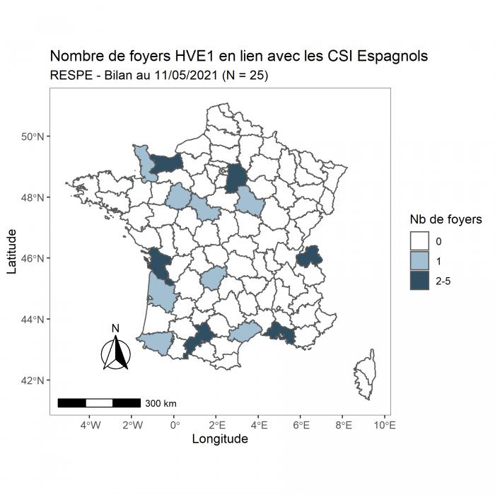La cellule de crise du RESPE s'est réunie pour la septième fois le 10 mai dans le cadre du suivi des foyers d'herpèsvirose de type 1 (HVE1 – rhinopneumonie) présents sur le territoire, en lien ou non avec les CSI espagnols. Cette réunion avait pour objectif de statuer sur la situation en France, après un retour de plusieurs semaines à la compétition pour les rassemblements professionnels sous l'égide de la SHF et de la FFE.
